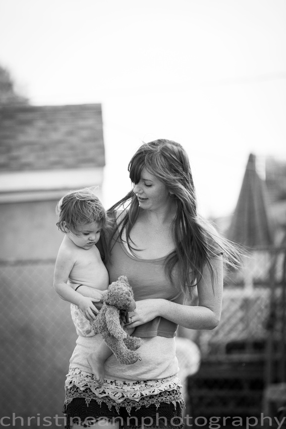 Mom and daughter with teddy bear lifestyle session Duluth MN.