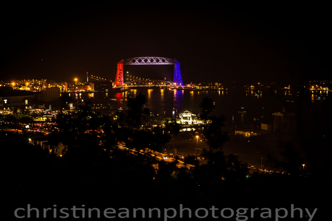 Duluth MN red, white, and blue Aerial Lift Bridge 4th of July 2015.