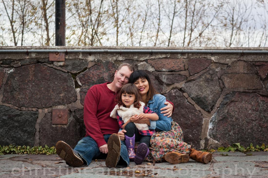 Stone castle Leif Erickson Park family of three photo