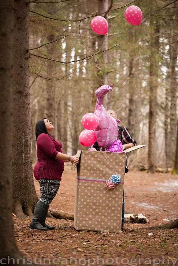 it's a girl balloons in box gender sex reveal in the forest