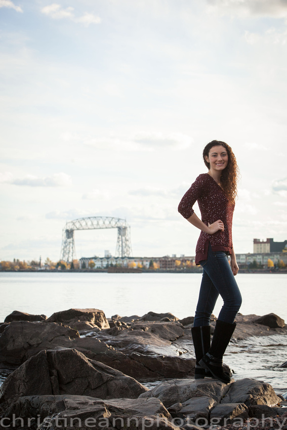 High school senior photography portrait session at North Shore in Duluth MN.