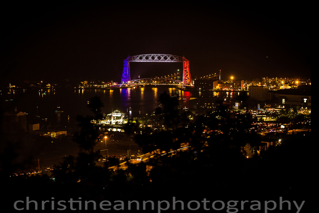 Duluth Aerial Lift Bridge Red White Blue 2015 in support of France