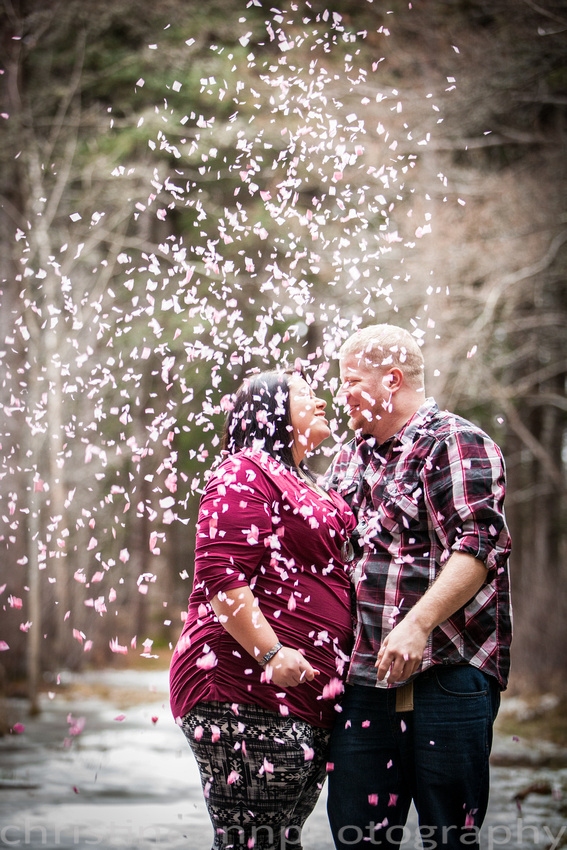 Couples maternity gender reveal with confetti hartley  nature center Duluth MN photographer