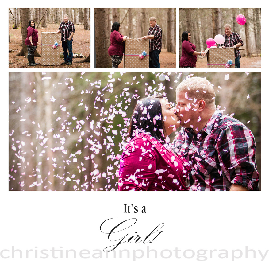 couples gender reveal with confetti and balloons it's a girl duluth mn