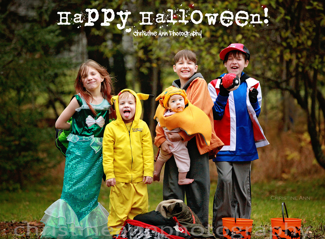 Halloween costumes of Pokemon Trainers Ash and Trip and Pokemon Picachu and Charizard and a mermaid.