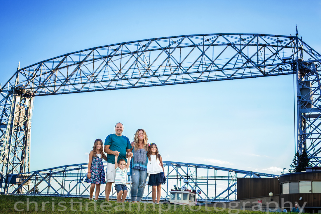 Ariel Lift Bridge Family Photo Duluth
